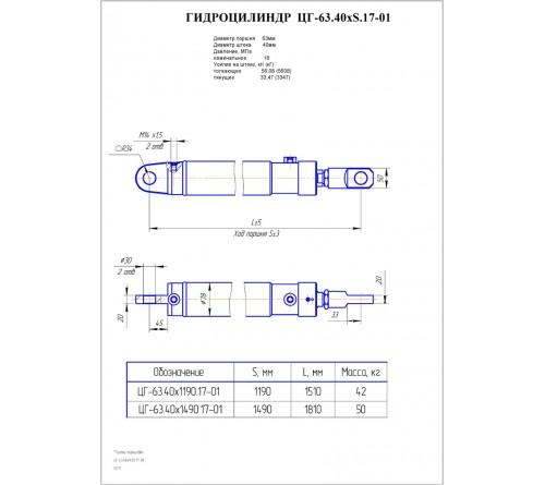 Гидроцилиндр выдвижения опор ЦГ-63.40х1490.17-01 (КС-45726.31.300)